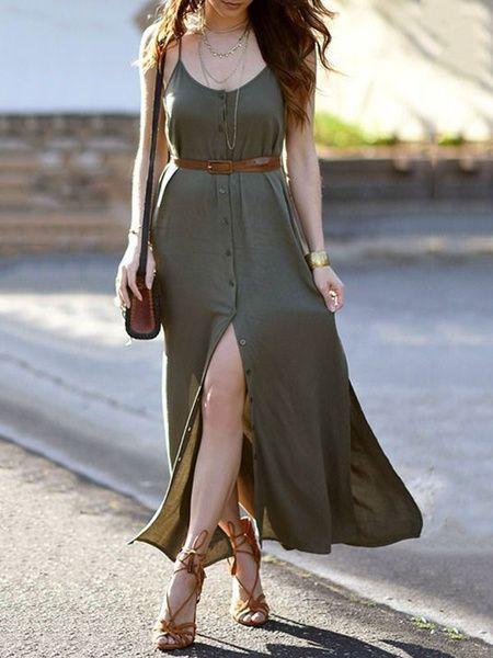vestido com botões verde militar