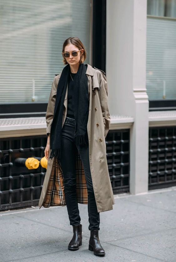 look all black, trench coat
