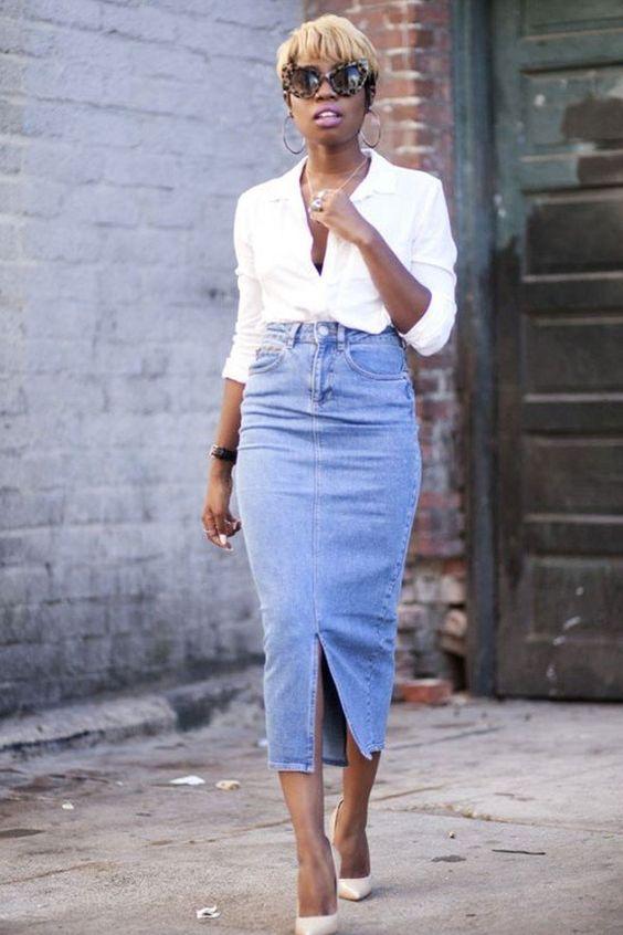 camisa brana e scarpin branco