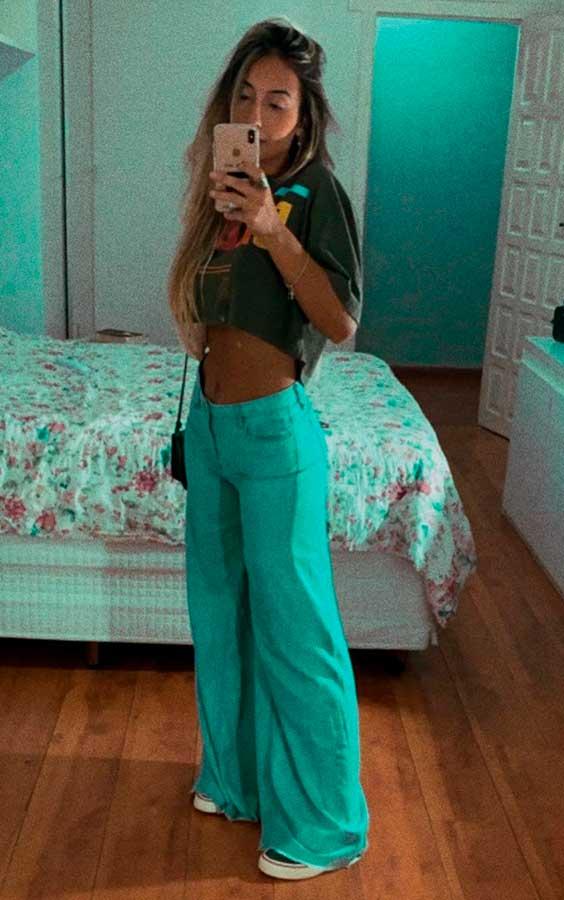 Maria Vasques. calça wide leg, cropped