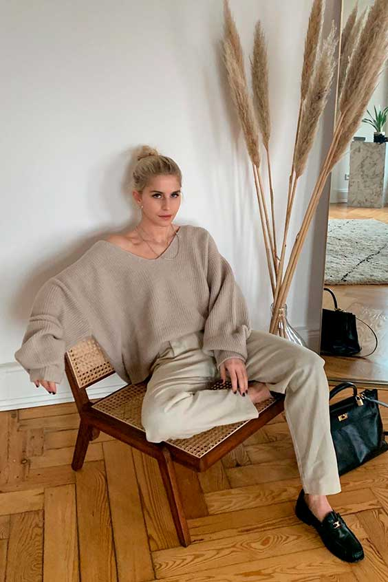 look minimalista com suéter