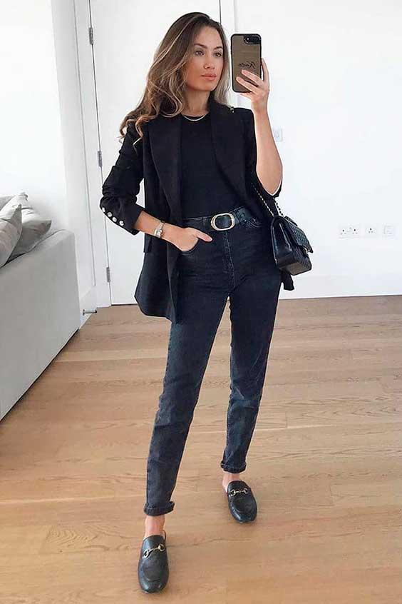 cool no inverno, blazer e calça preta