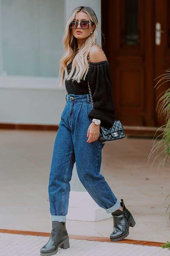 look básico com calça slouchy jeans e ankle boot