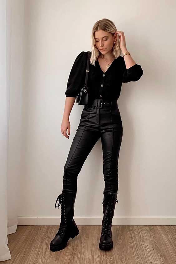 look all black com coturno