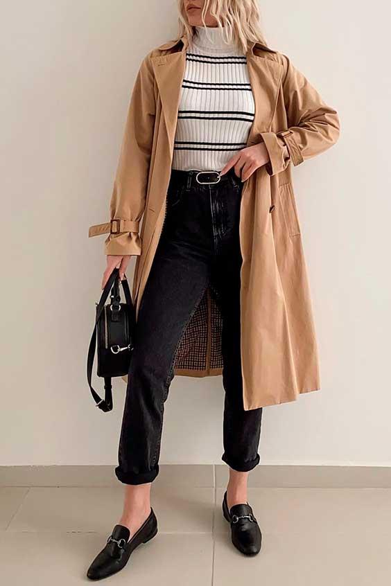 calça preta com trench coat