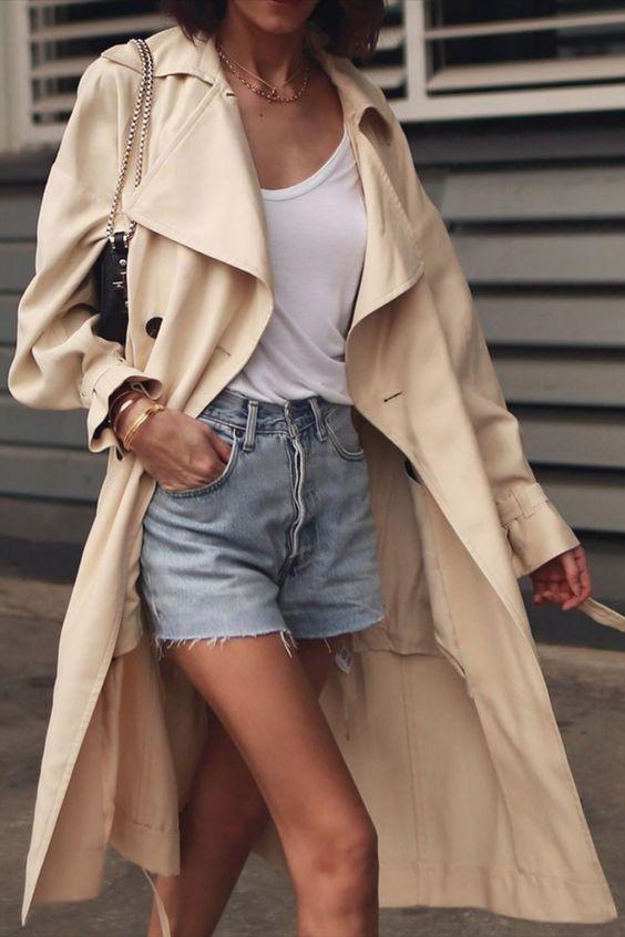 short jeans, regata branca com trench coat