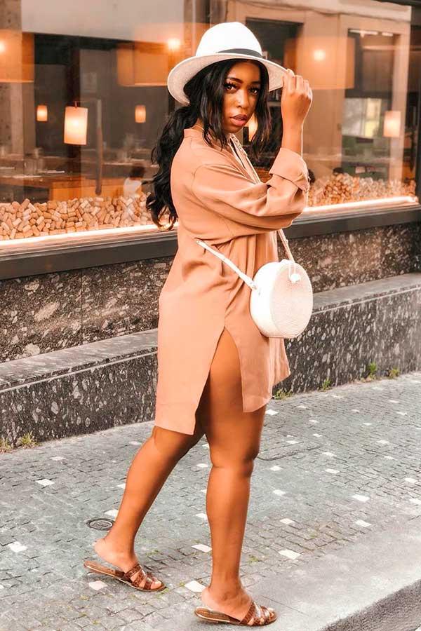Sonia Belo, vestido chemise em tons terrosos