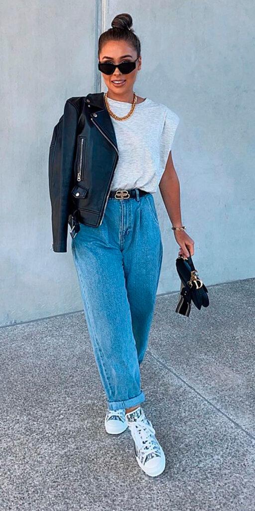 calças de estão bombando, muscle tee, jaqueta de couro, slouchy jeans