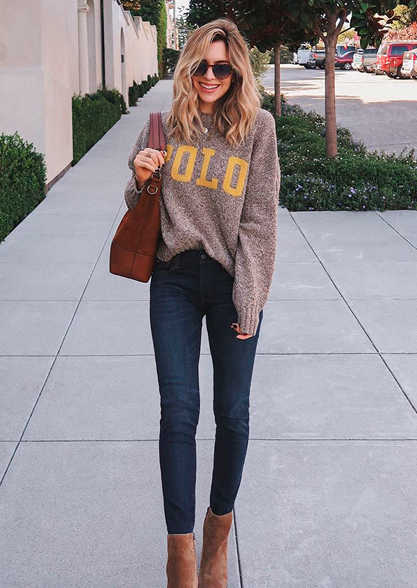 looks práticos, suéter cinza, calça skinny e ankle boot