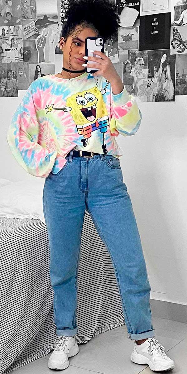 Combos, moletom colortido e mom jeans