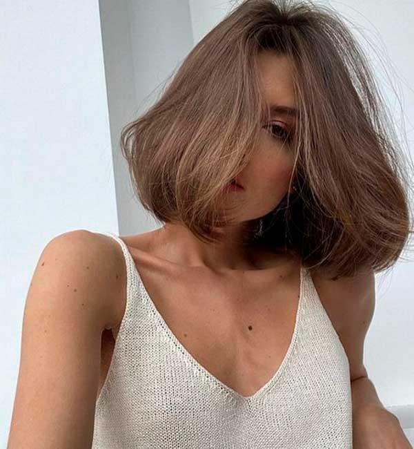 cabelo curto liso, cabelo castanho chanel