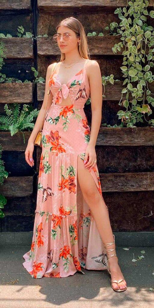 vestido floral longo rosa