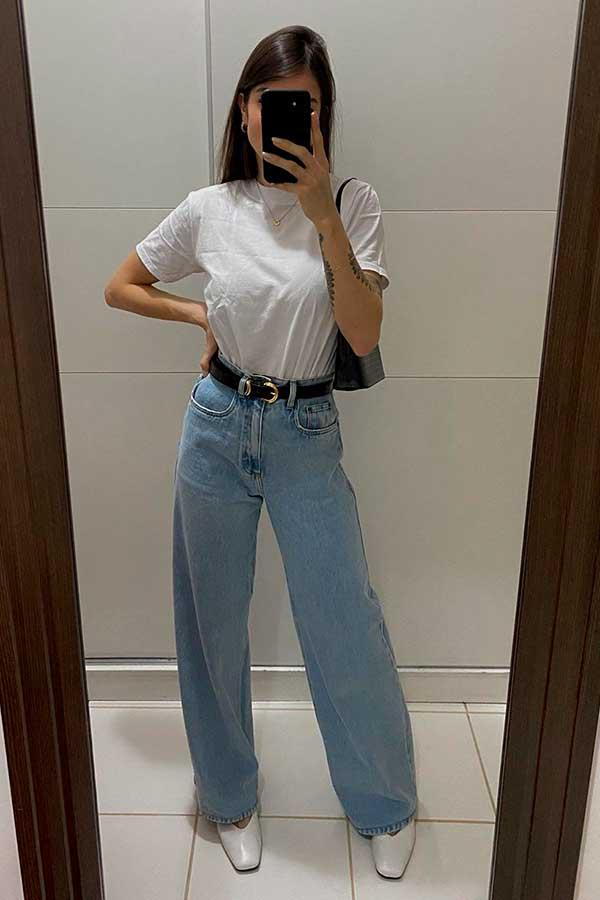 wide leg, calça baggy e t-shirt branca