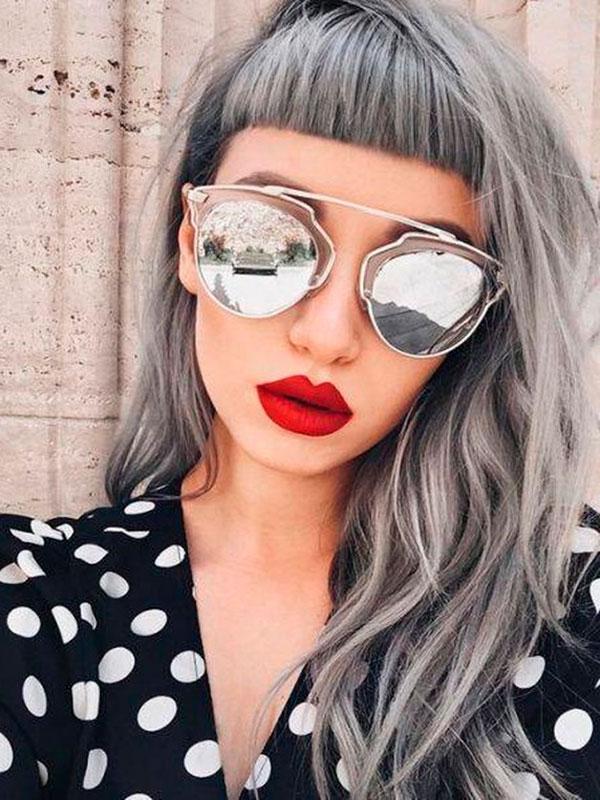 cabelo silver baby bang