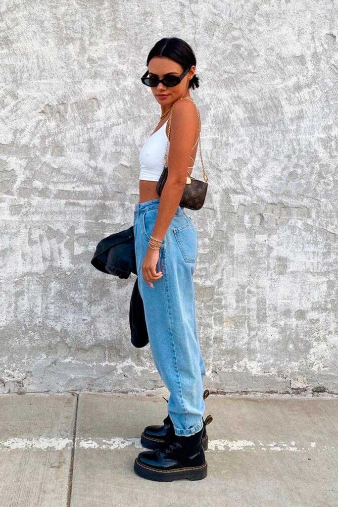 coturno tratorado, slouchy jeans, cropped preto