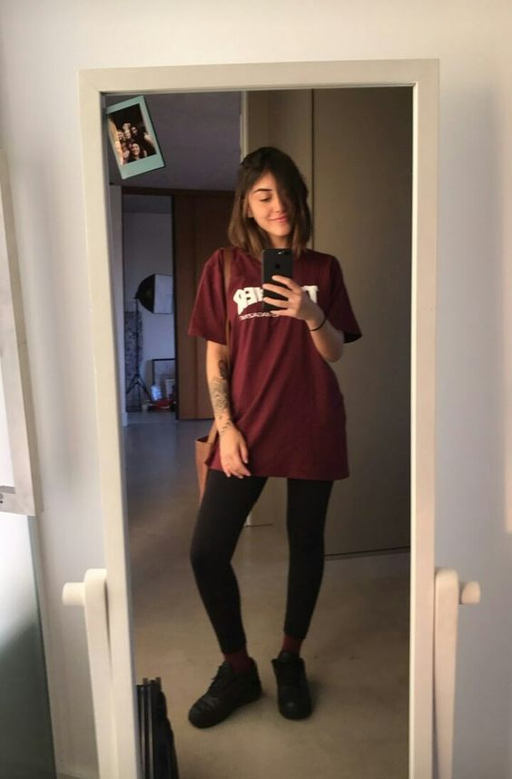 legging preta, t-shirt oversized