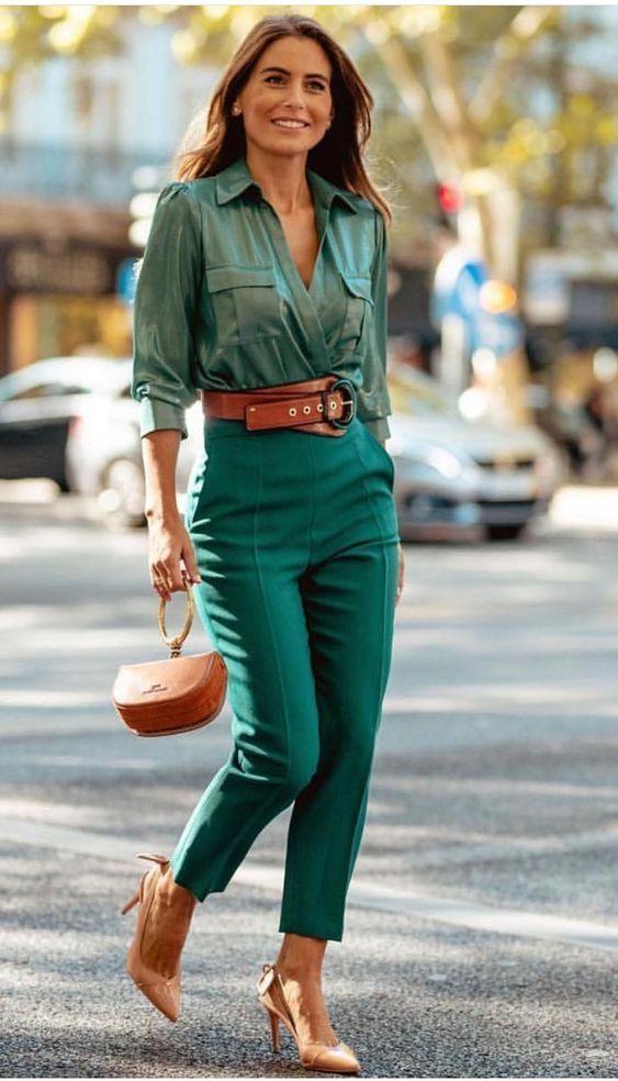 look monocrompatico verde