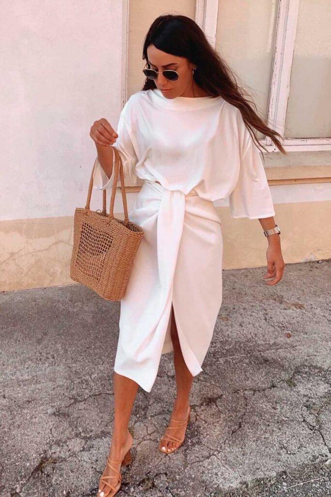 blusa branca e saia midi branca