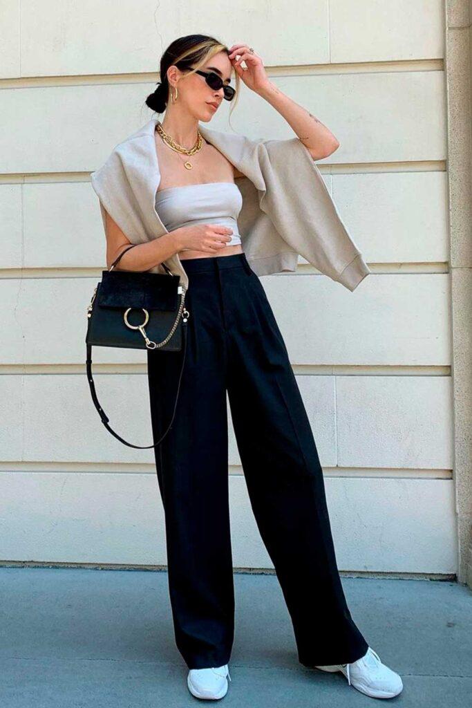 top faixa, calça de alfaiataria preta