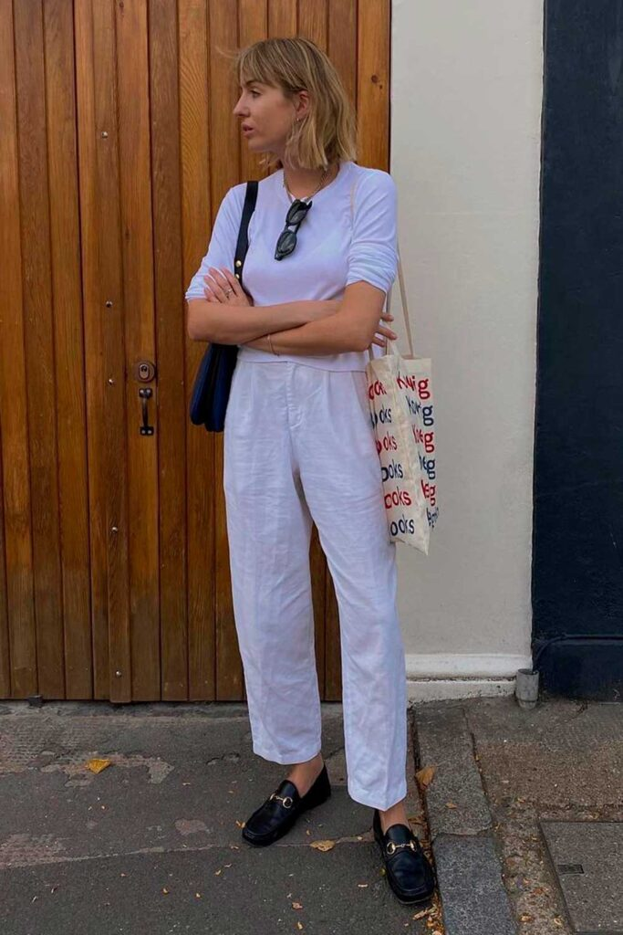 sapatos, look total white, loafer preto