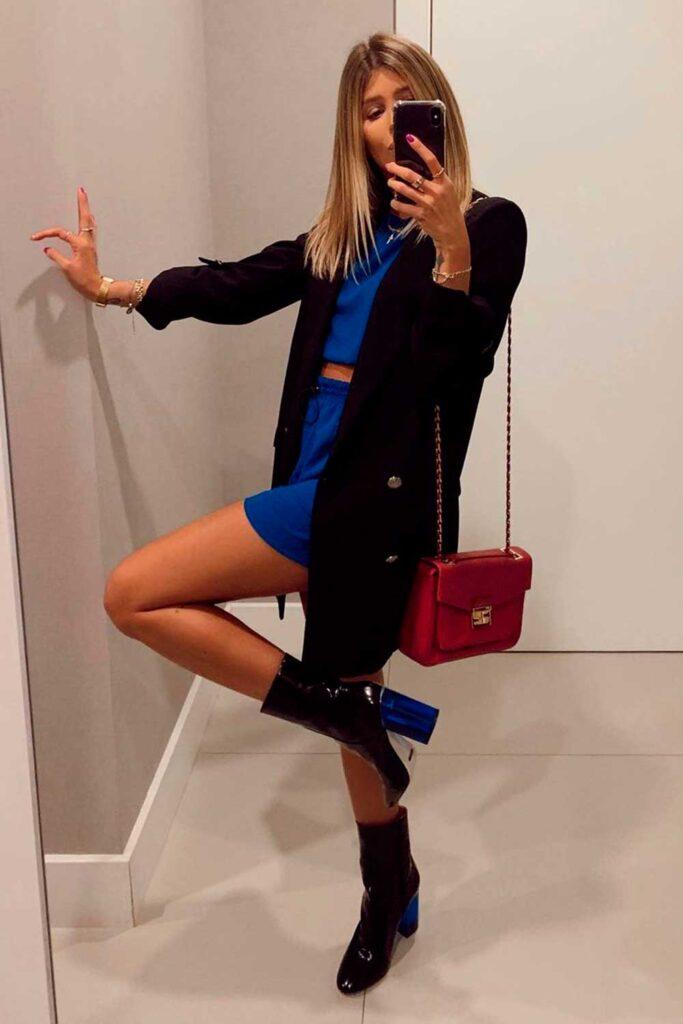 sapatos, ankle boot, blazer preto e conjuntinho azul