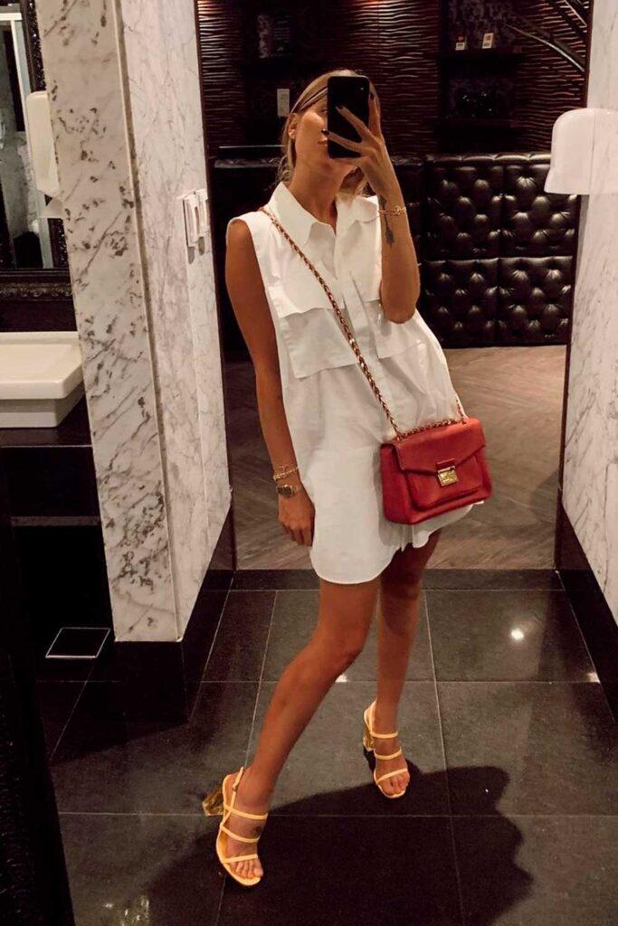 neste verão, vestido chemise branco e bola vermelha