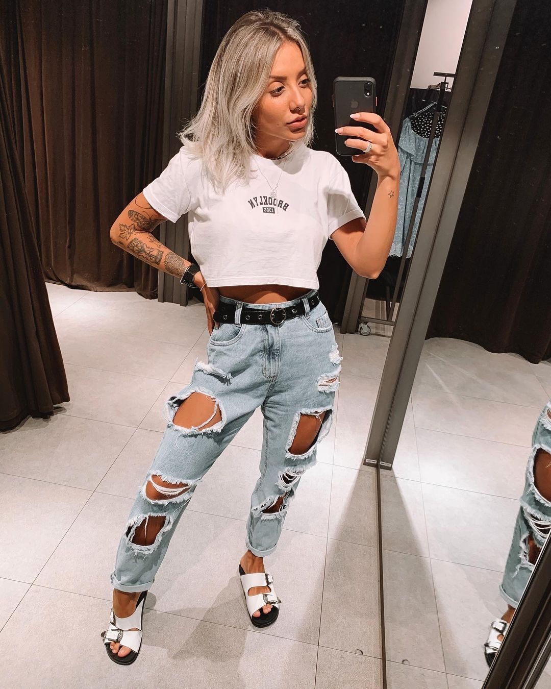 look com cropped e mom jeans destroyed