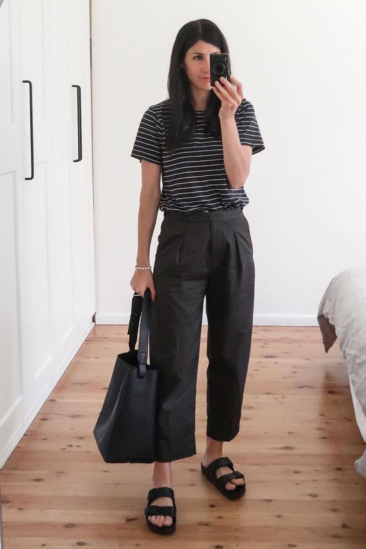 look casual, t-shirt cinza calça preta