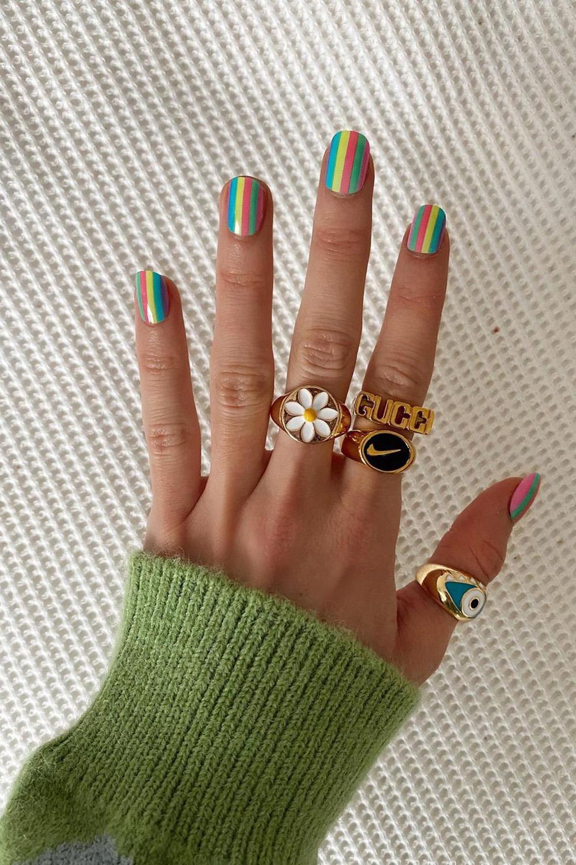 nail art, unhas colorias, arco-íris