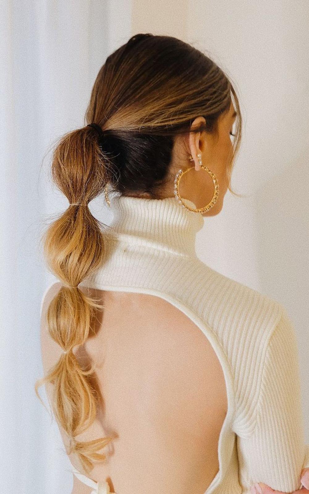 trança bolha com cabelo longo ombré hair
