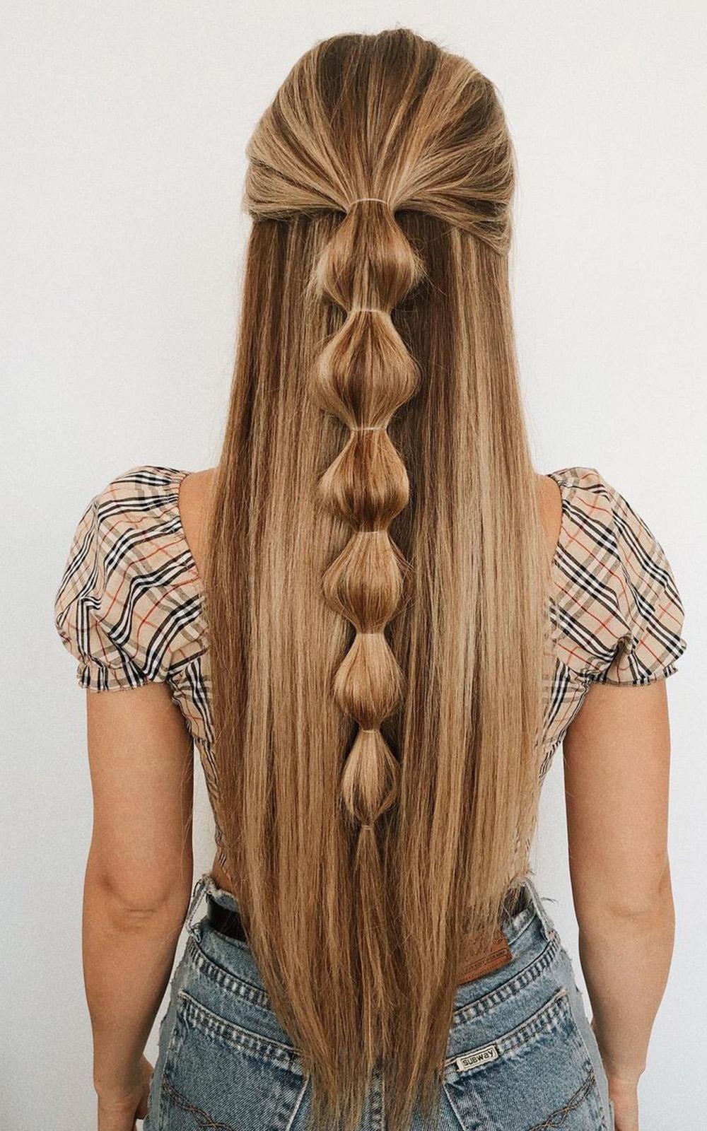 cabelo solto pela metade com trança bolha