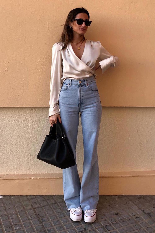looks de outono, blusa de cetim e calça wide leg