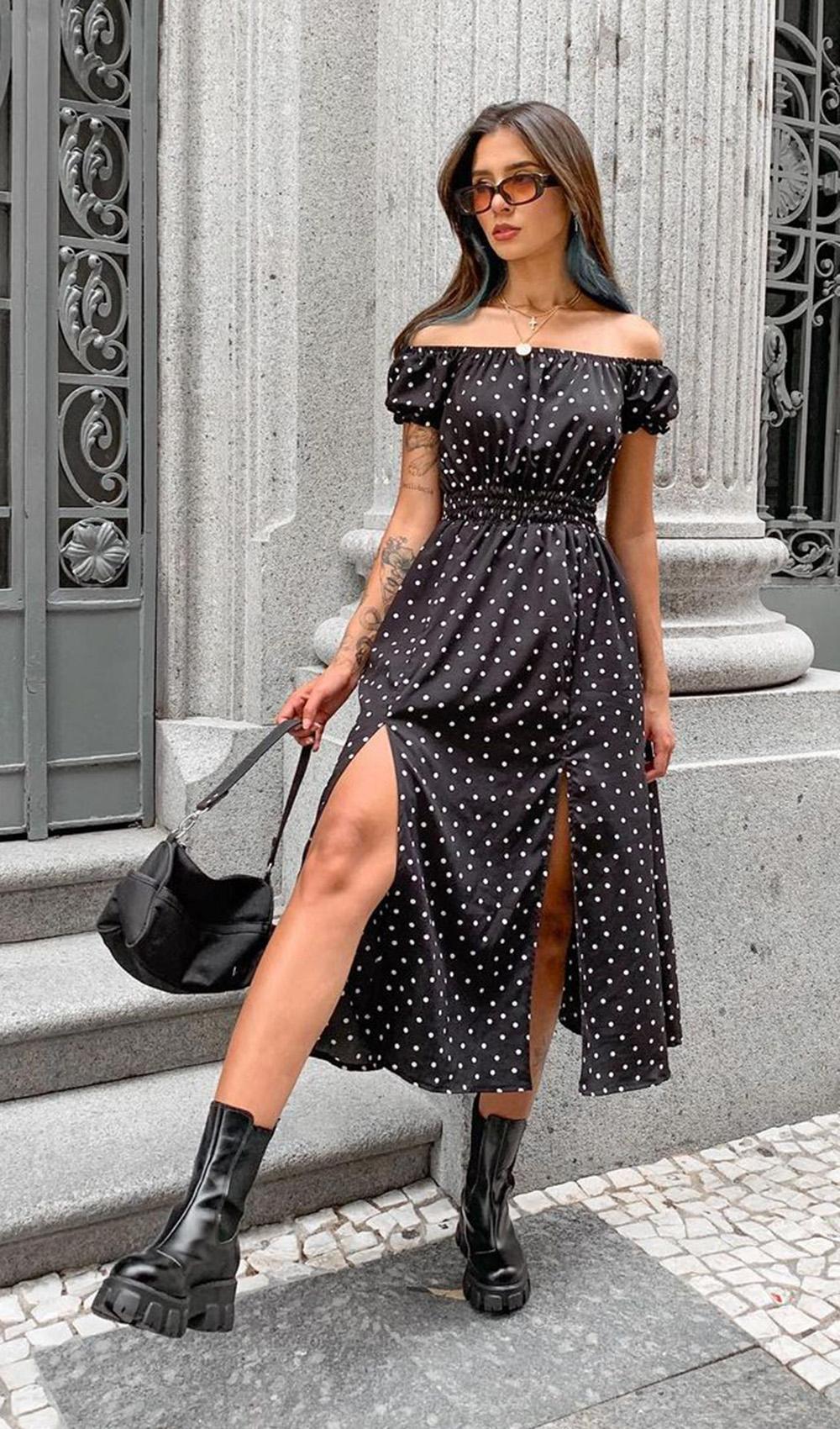 vestido midi de bolinhas com coturno