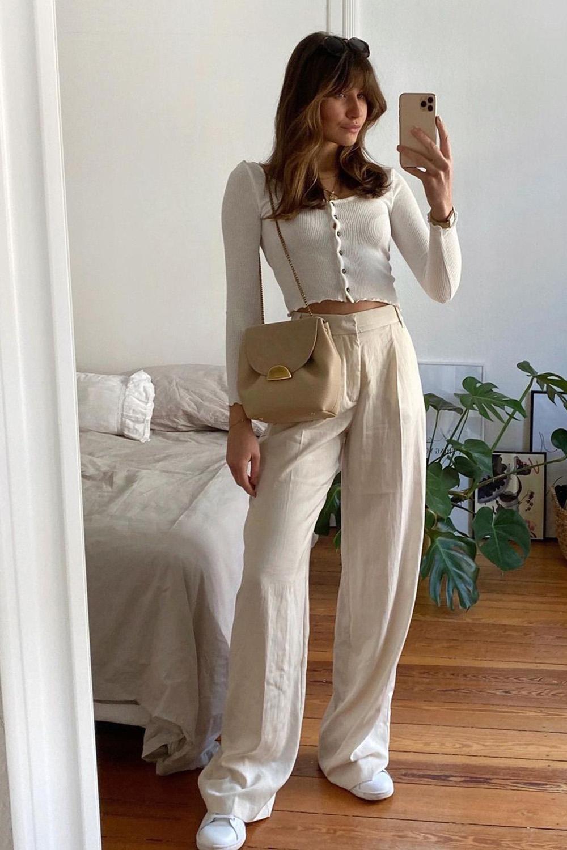 Laureen, suéter cropped, calça de alfaiataria wide leg