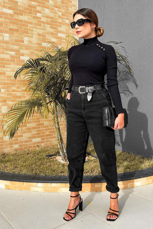 cool no inverno, look all black com gola alta