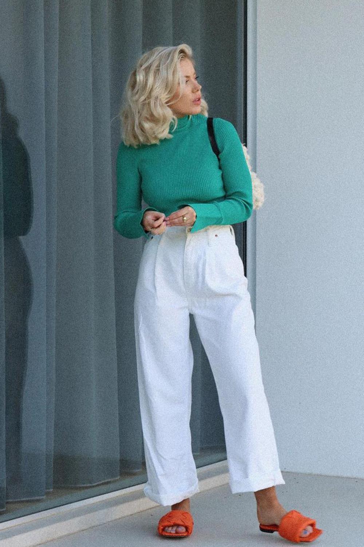 looks de trabalho, blusa verde e calça branca