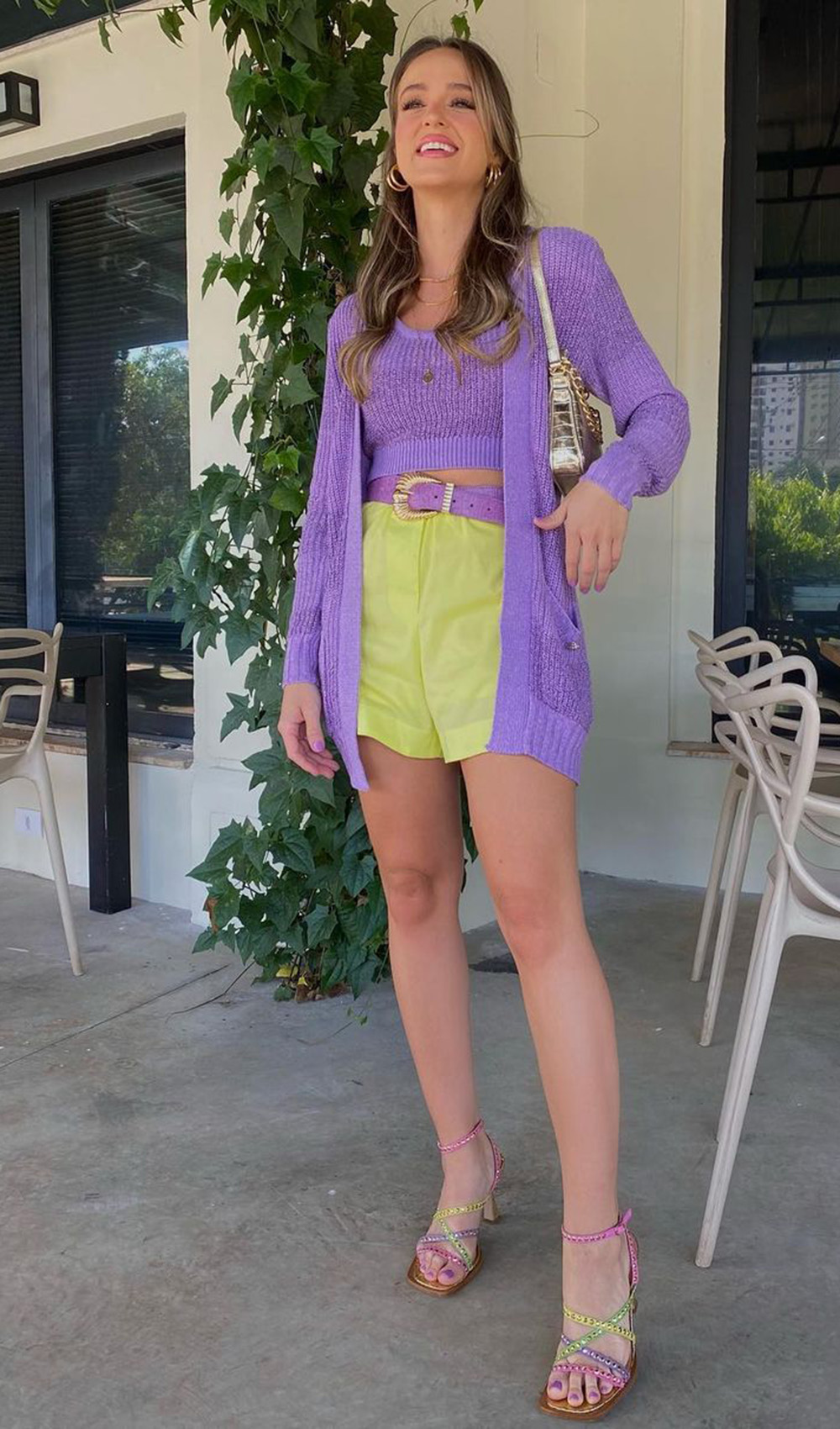 tiwn set lilás, cardigan e croppe, short laranja