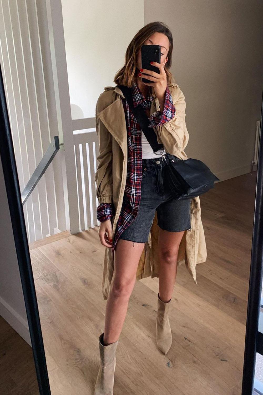 trench coat, camisa xadrez, blusa branca, bermuda jeans preta e bota
