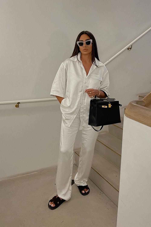 look minimalista, cojnuntinho pijada branco, rasterinha de bico quadrado