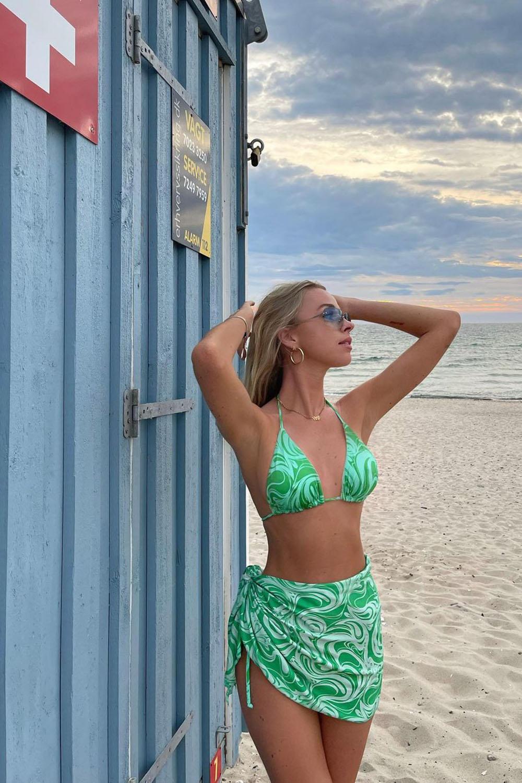 saída de praia, cojuntinho com biquíni verde