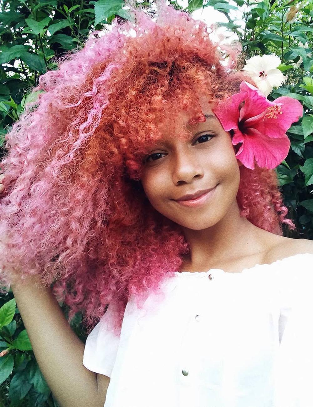 cabelo rosa caheado degradê